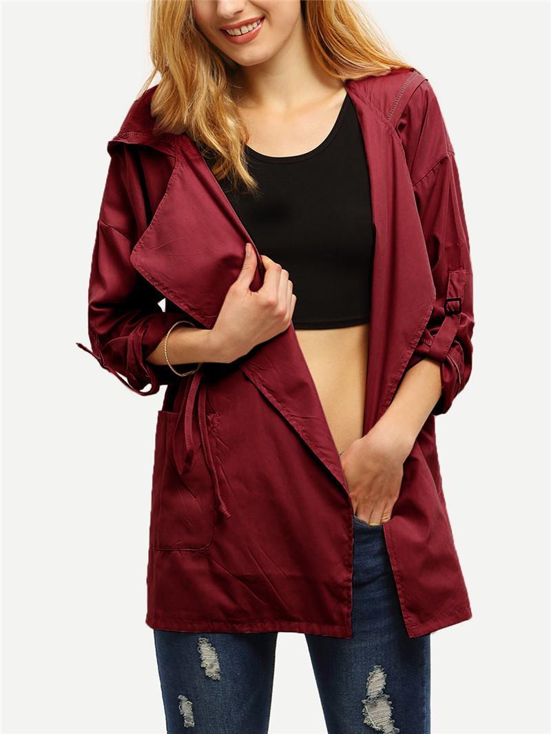Moda Tasarımcısı Kadın ceketler Patchwork Kapşonlu Ceketler Bayanlar Sashes Giyim İlkbahar Sonbahar Kadın Coats ile Saf Renk