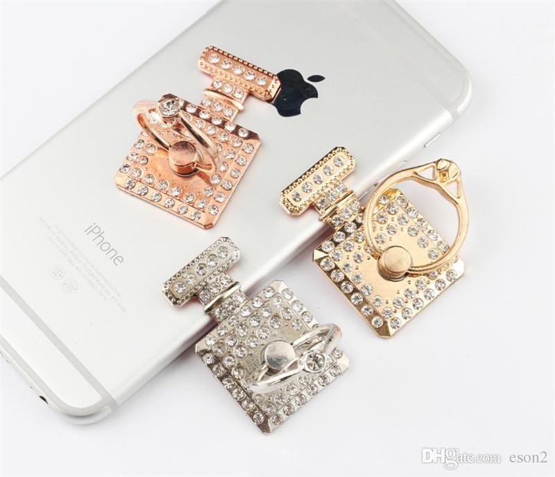 Diamante Frasco de perfume Dedo anel titular Mount Stand Holder telefone celular para Samsung Mobile Phones
