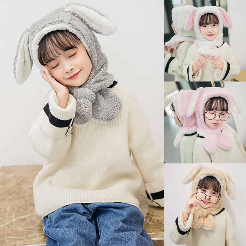 2019 New Years Toddler Kids Warm Winter Plush Hat Cap Rabbit Ear Hooded Scarf for Toddler Boys Girls Hats