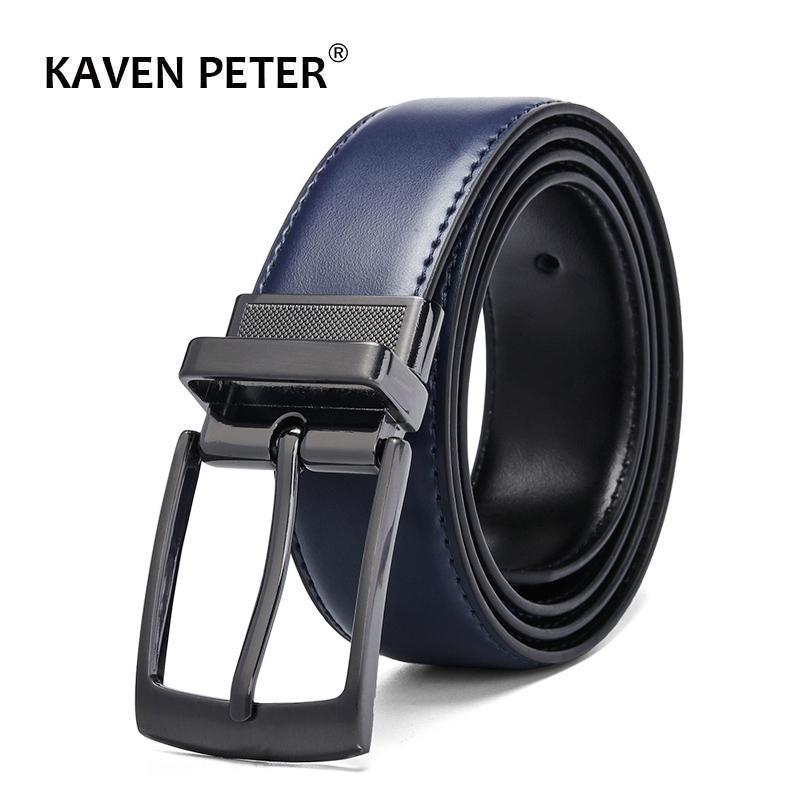 الأزياء الفاخرة الذكور عكسها حزام جلد الرجال الأعمال بنطلون حزام الرجال أحزمة جلدية حقيقية لالجينز الأزرق الداكن البني الأسود