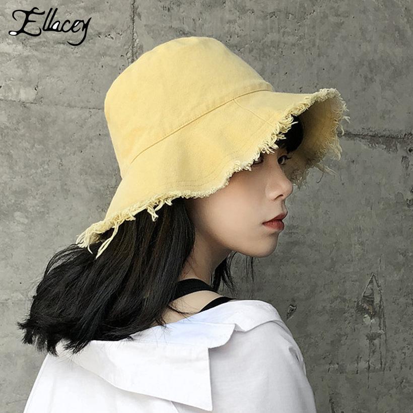 Ellacey 2018 été Harajuku Ripped Chapeau de pêche Chapeau Femme cool Panama Femmes Casquettes Pliable Washed en tissu Cap Girl