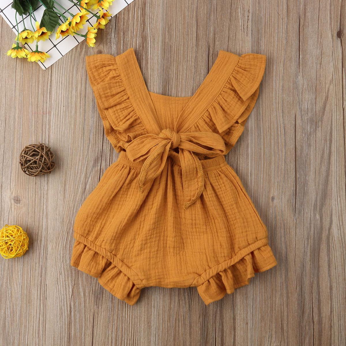 2019 estrenar del niño recién nacido bebés de la colmena de los mamelucos del Uno-Pedazos ropa del verano del bebé sin mangas del mameluco del mono sunsuit