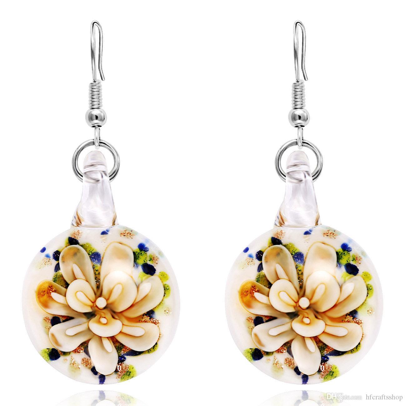 10pcs Colorful Round Murano Glass Pendant Drop Earrings Bohemia Dangle Earring Fashion Jewelry For Women Wedding Party Accessory