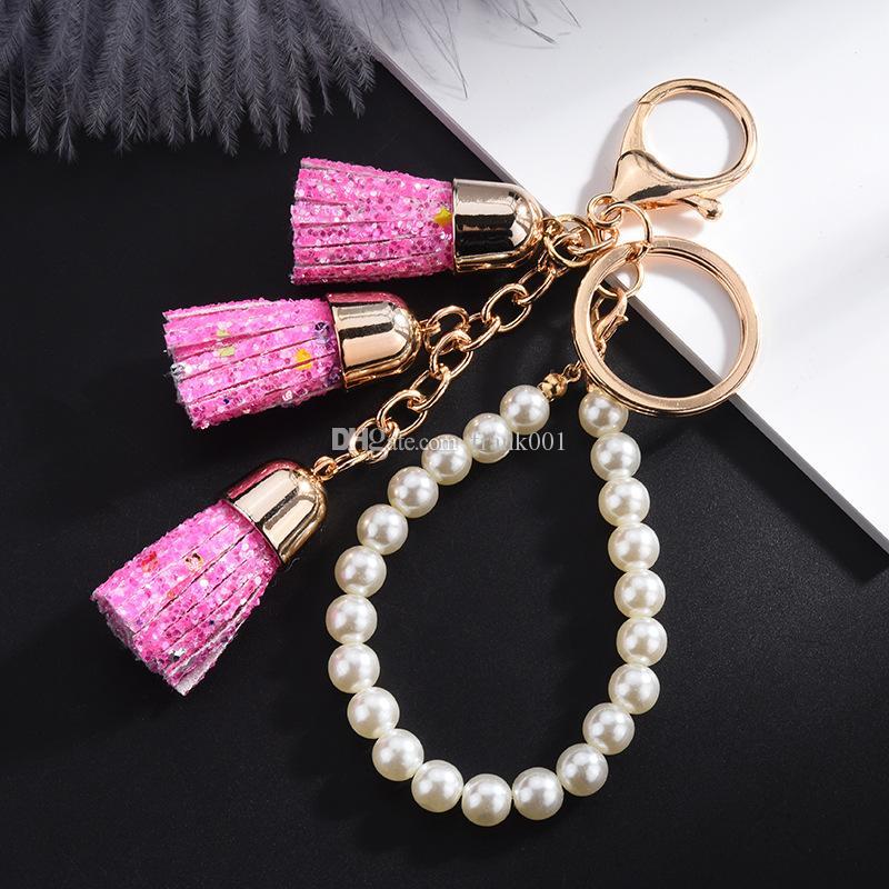 Nouvelle arrivée à la mode paillettes pendentif porte-clés perle bracelet porte-clés de haute qualité porte-clés bijoux accessoires cadeau sac porte-clés