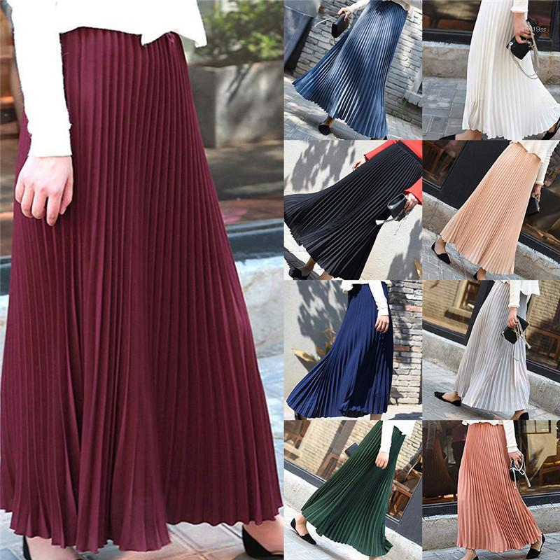 Pure Color Nahen Taille Moderne OL Art-Frauen Designer Röcke Free Size 9Colors Faltenröcke Sommer