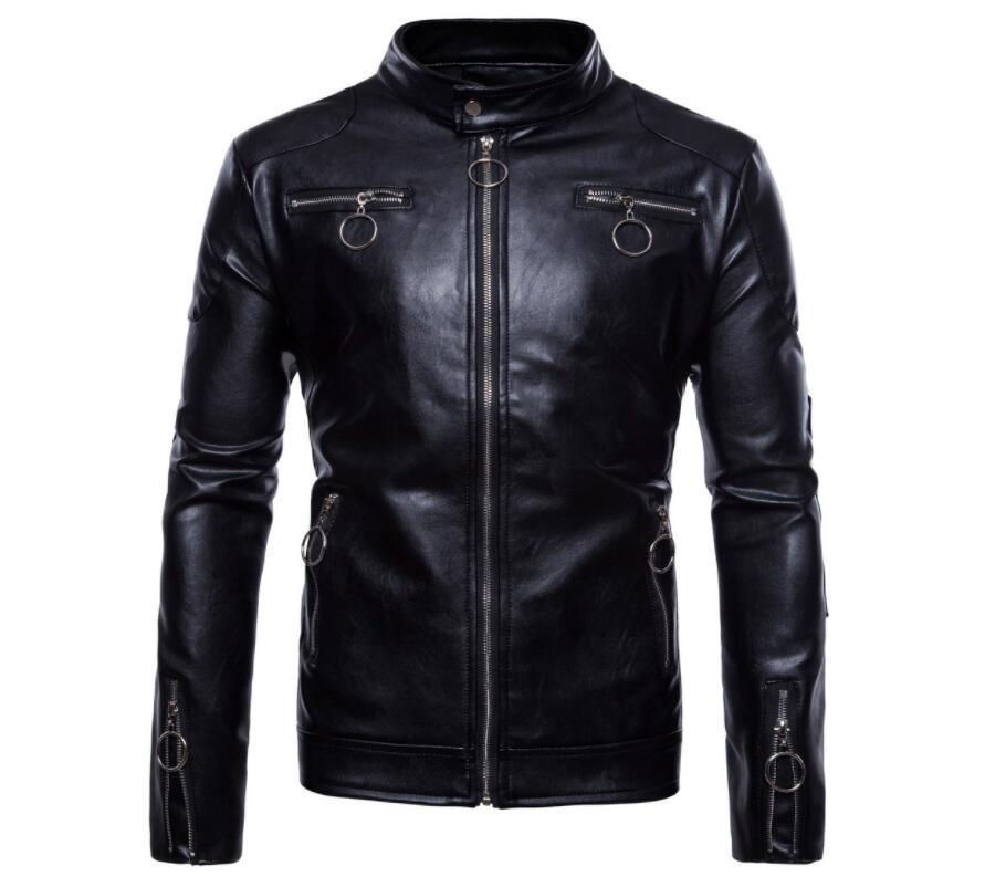 Мужская кожаная куртка тонкий мотоциклетные кожаные пальто куртки мужчины одежды персонализированных jaqueta де Couro этап уличной моды весна