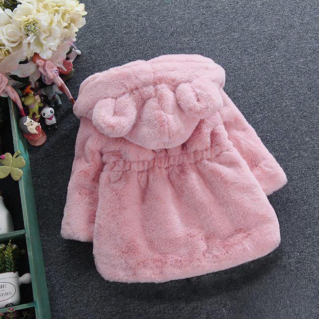 Kız bebekler Kürk Ceket Kış Çocuk Sevimli Kulak Kapşonlu Palto Çocuk Kalın Sahte Kürk Dış Giyim Giyim Isınma Kız 2 3 4 6 Yıl boyunca