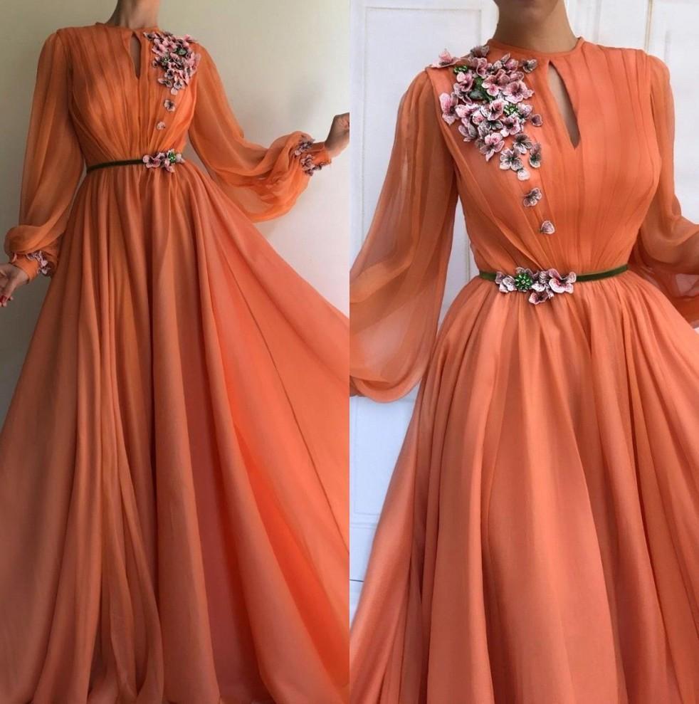 Elegant Orange Long Sleeves 3D Floral Lace Dubai Prom Dresses 2020 A-Line Chiffon Islamic Arabic Long Evening Gown Robe de soiree BM0844