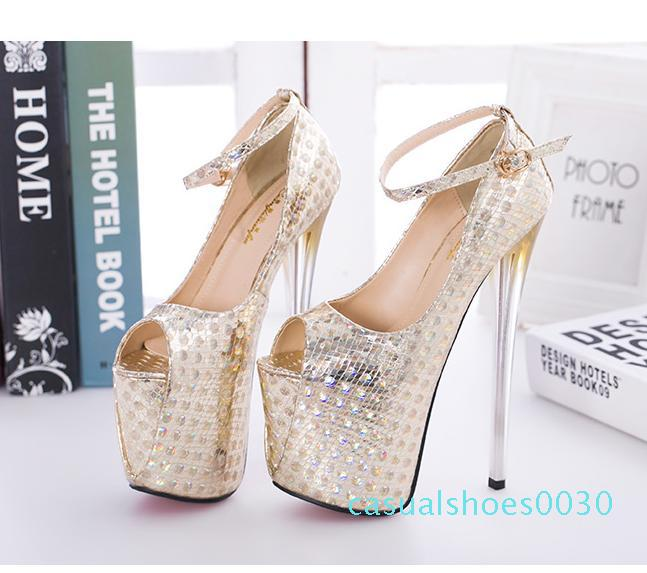 19cm Super Platform Ultra High Heels Peep Toe Pumps Women Party Club Wear fuchsia blue gold Big Size 34 to 40 41 42 43 30c