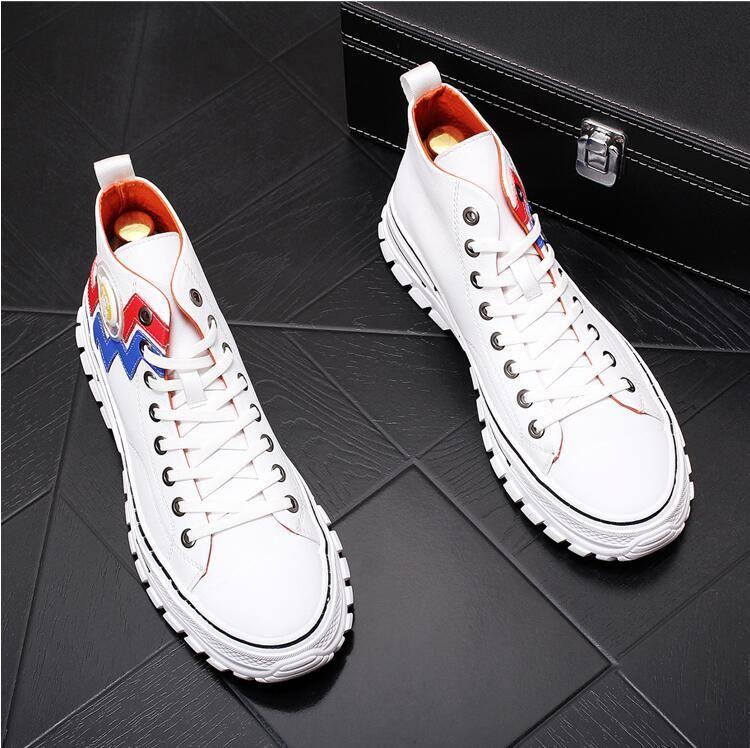 Los hombres calientes Zapatos Moda Hombre Otoño Calzado de cuero hombre nuevo top del alto zapatos de lona de negocios ocasional de los hombres zapatillas de deporte E286