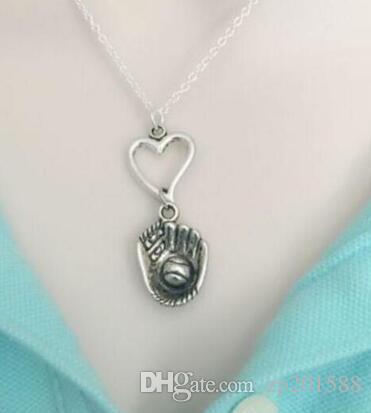 Софтбол/бейсбольная перчатка подвеска ожерелье дизайн заявление старинные серебряные шармов сердца колье ожерелья для женщин ювелирные изделия подарок DIY украшения