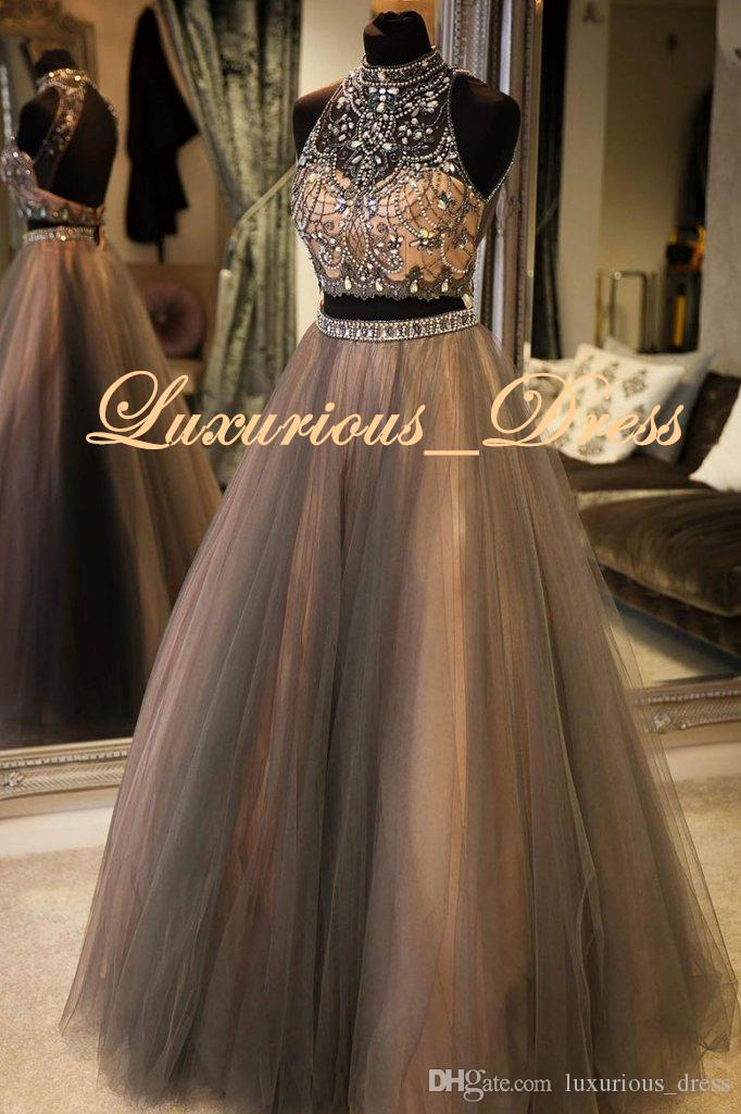 Real Pictures Retro Arabian Two Pieces Evening Dresses Elegant Crystal/Beading Party Prom Gowns Sexy Black Girl robe de soiree New Design