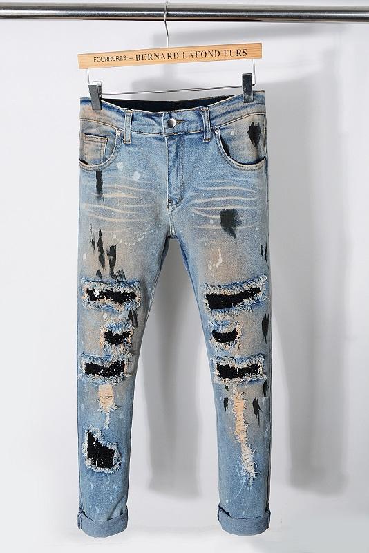 TOPO! Estilo Moda Mens Hetero Slim Fit motociclista Calças Jeans afligido Skinny rasgada Destruído Denim Jeans Lavado Hiphop Calças 2227