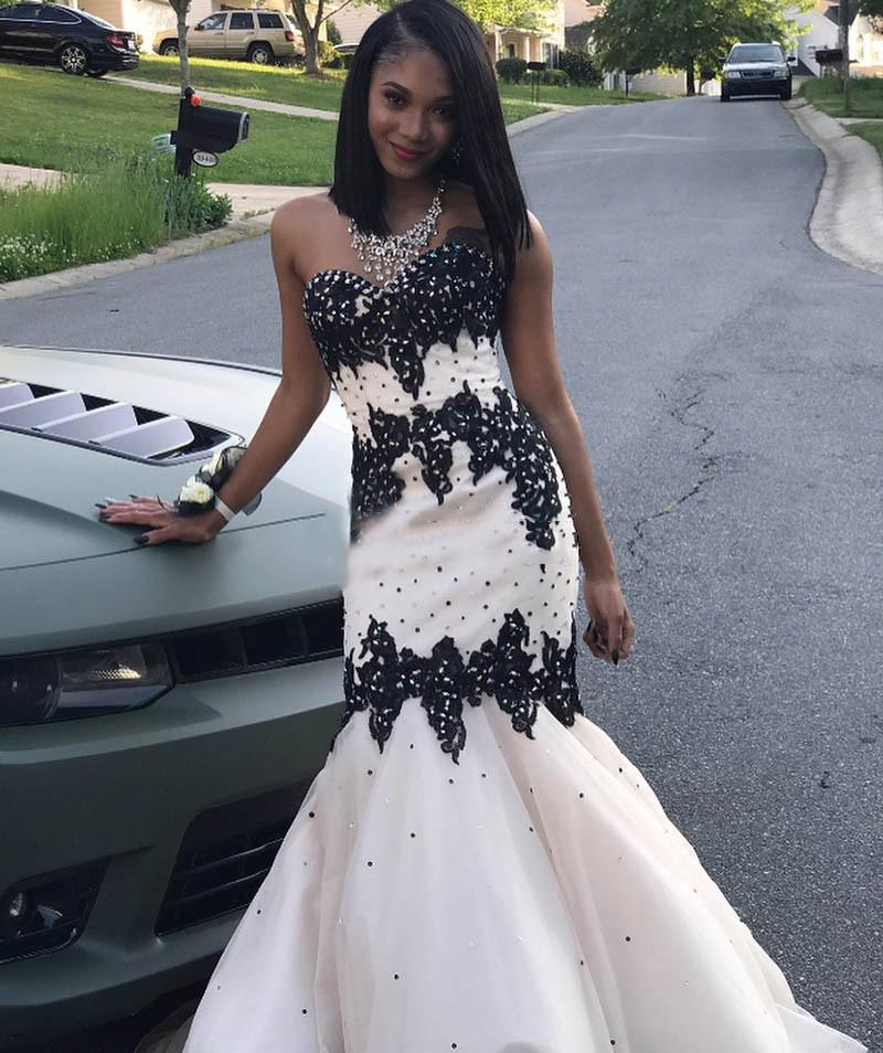 Black Girls Prom Dresses With Black Appliques 2019 Mermaid Sweetheart  Organza Floor Length Formal Evening Party Dresses Plus Size CP0216  Celebrity