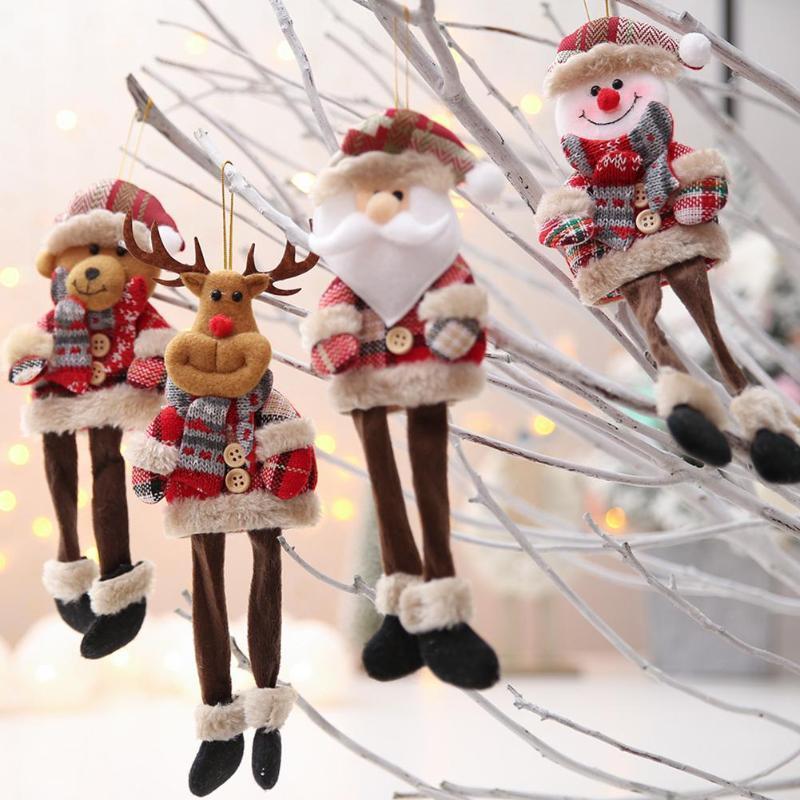 Moda lindo del Año Nuevo Muñecas Navidad Papá Noel / muñeco de nieve / Elk Noel de Navidad decoración del árbol de Navidad Navidad para el hogar regalo de los niños
