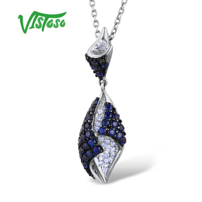 قلادة الذهب VISTOSO للنساء حقيقية 14K 585 الذهب الأبيض متألقة الماس الياقوت الأزرق فاخرة لذيذة قلادة مجوهرات الجميلة