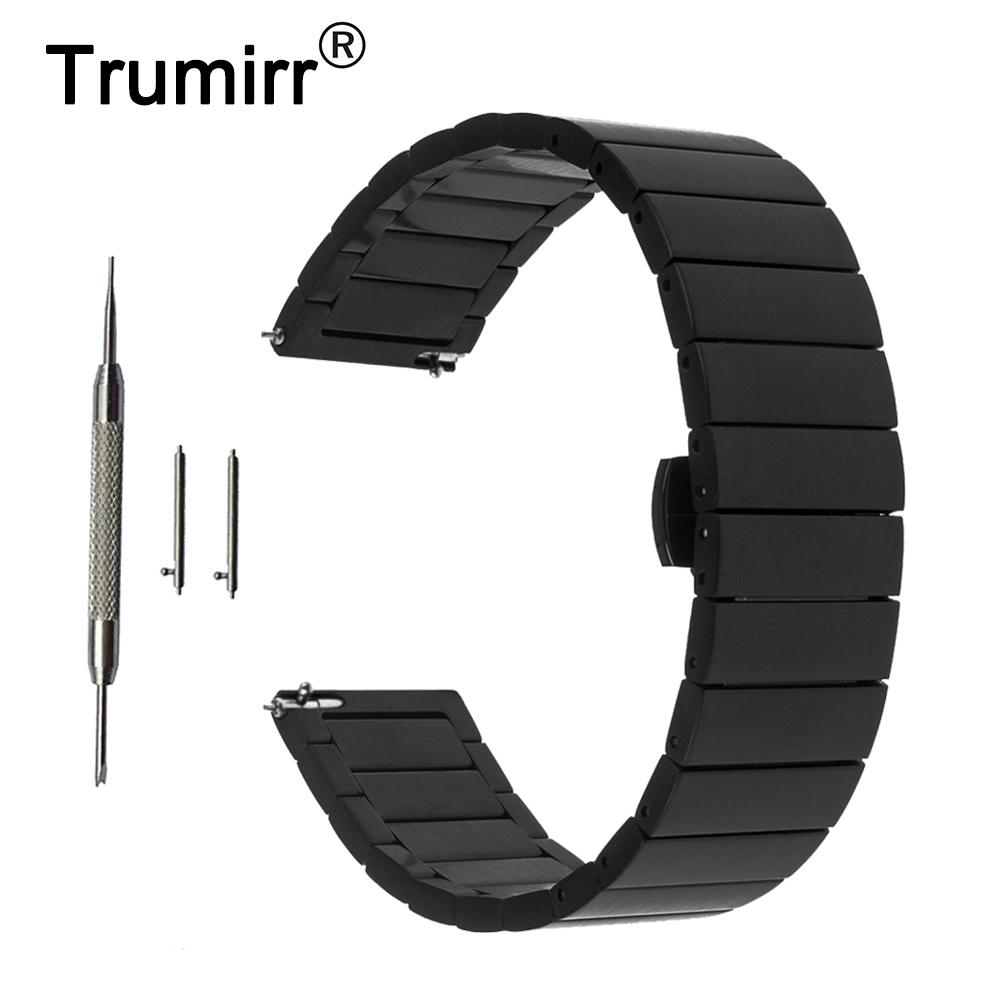 20mm Stainless Steel Watch Band Quick Release Strap for Ticwatch 2 42mm Butterfly Buckle Wrist Belt Bracelet Black Gold Silver