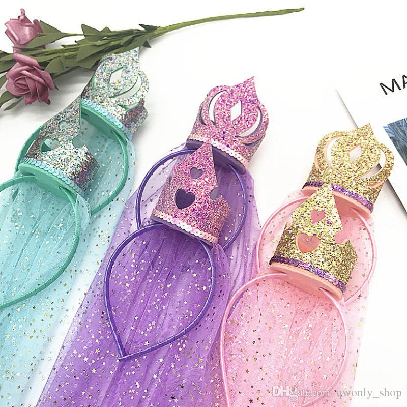 Princesa Coroa Meninas Headband Fantasia Do Arco Íris Do Bebê Headwear Adereços Foto Partido Hair Hoop Hairbands Crianças Acessórios Para o Cabelo