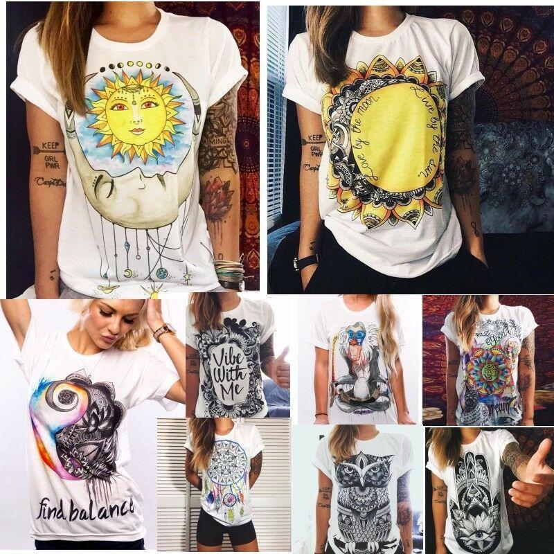 7 색 XS-4XL 패션 Boho 여성 캐주얼 여름 반팔 만화 면화 티셔츠 블라우스 탑스