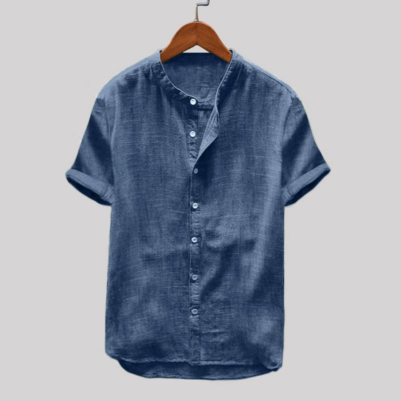 Feitong Sommer Shirts für Männer Men Baggy Cotton Linen Solid Color Short Sleeve Buttons Retro Tops Bluse Camisa Masculina