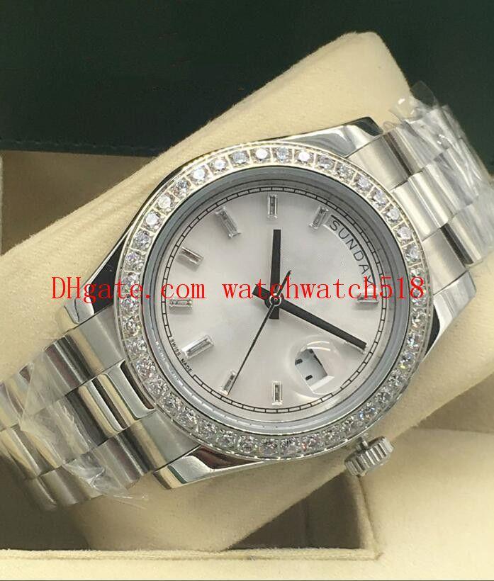 6 colores nueva versión para hombre del diamante del bisel de oro blanco 18k oro blanco Diamante Azul Negro Dial 41 mm automático de los hombres de moda del reloj del reloj
