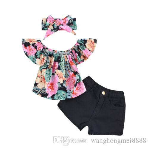 2019 neue HEISSE VERKAUF Kleinkind Kind Mädchen Kleidung Floral Tops T-shirt Denim Shorts Stirnband Outfits Set