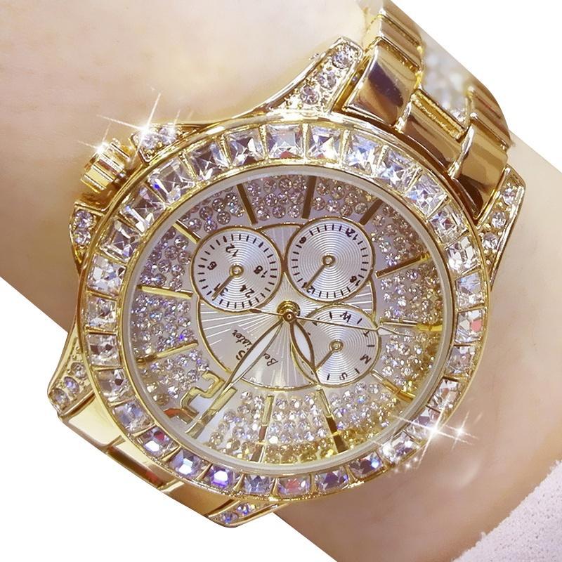 نساء ساعات الكوارتز الماس ووتش الأزياء الأعلى العلامة التجارية ساعة اليد ووتش أزياء السيدات مجوهرات كريستال روز الذهب
