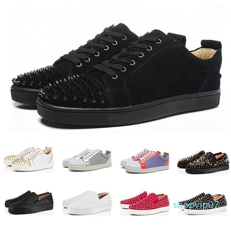 2019 mode design luxe Bas clouté Spikes chaussures Flats Party noir Hommes Femmes Lovers Sneakers occasionnels en cuir véritable