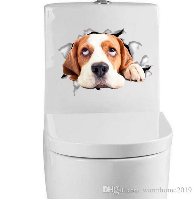 Engomada del arte del agujero visión vivo Gatos perro etiqueta de la pared 3D Cuarto de baño WC Salón Cocina Decoración Animal vinilo Adhesivos de cartel