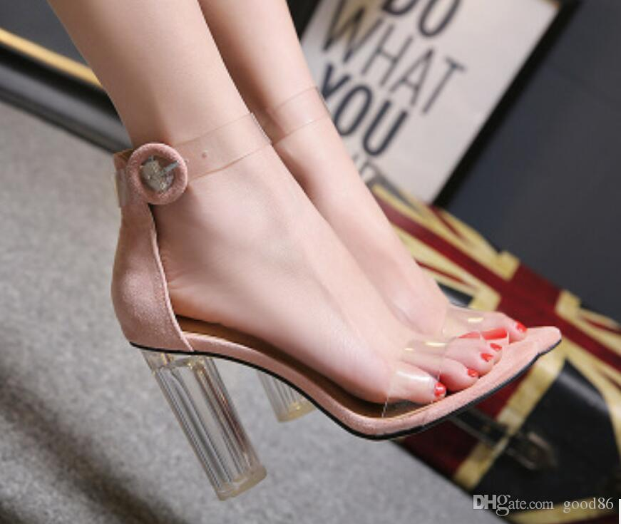 summer buckle transparent crystal high heel thick-heeled glass film toe sandals night club party dance shoes sexy new style 2019