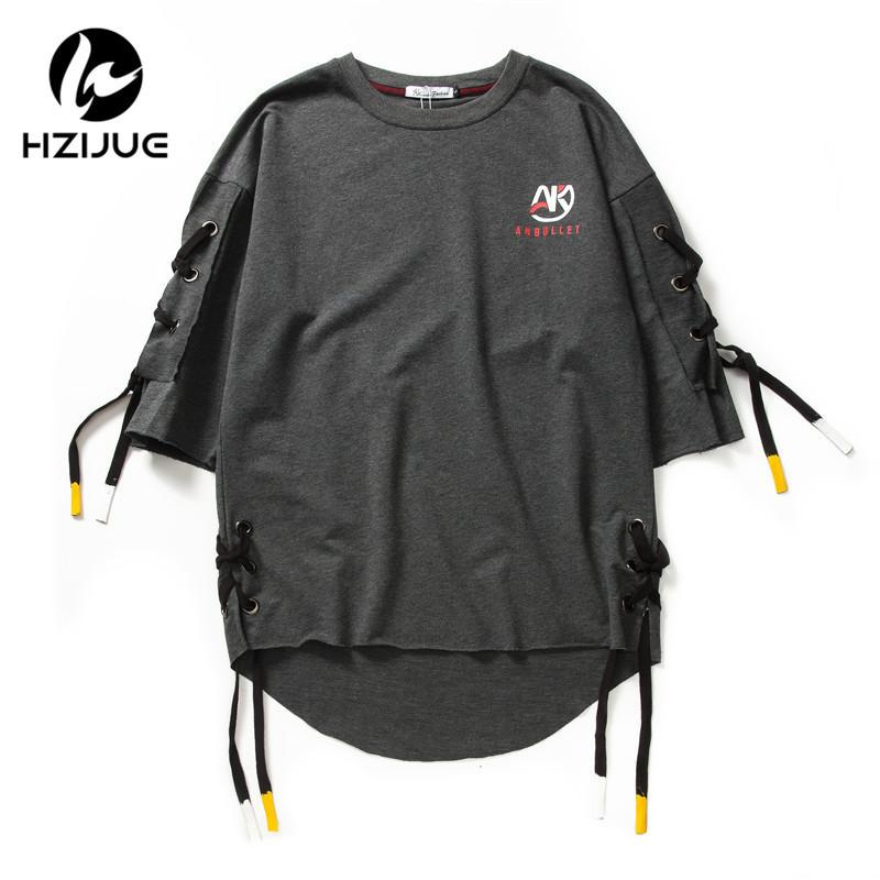 Hzijue New Arrival Men Fashion Short Sleeve Side Bandage T Shirt Boys Hip Hop Tee Shirts Loose Street Wear Swag Male Clothes Y19072201