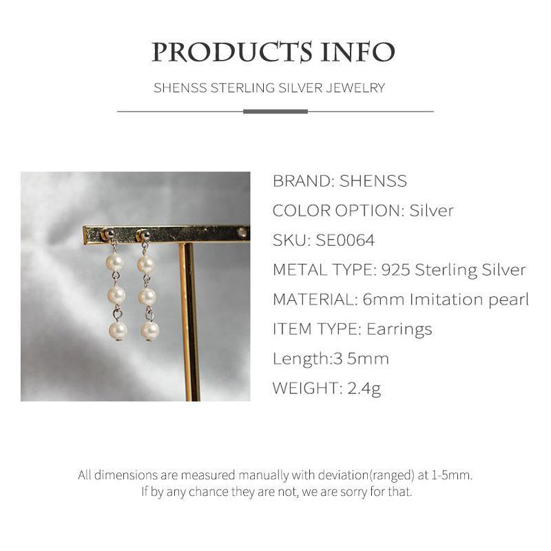Fashion Shell Pearl Earrings Elegant Quality 925 Sterling-Silver-Jewelry Earring For Women