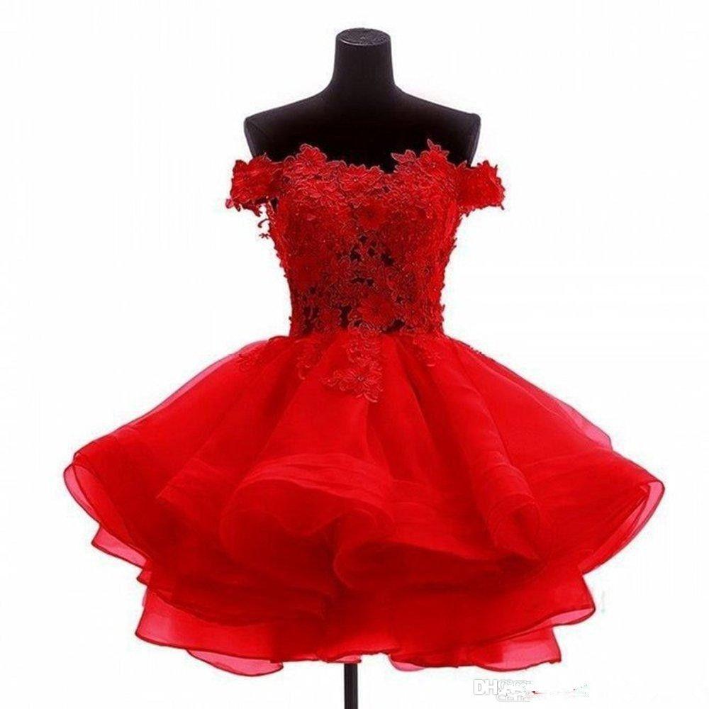 Vestidos de fiesta cortos de encaje rojo Baratos fuera del hombro Volantes de organza Con cuentas Una línea Apliques Vestidos de fiesta de baile con cuentas formales