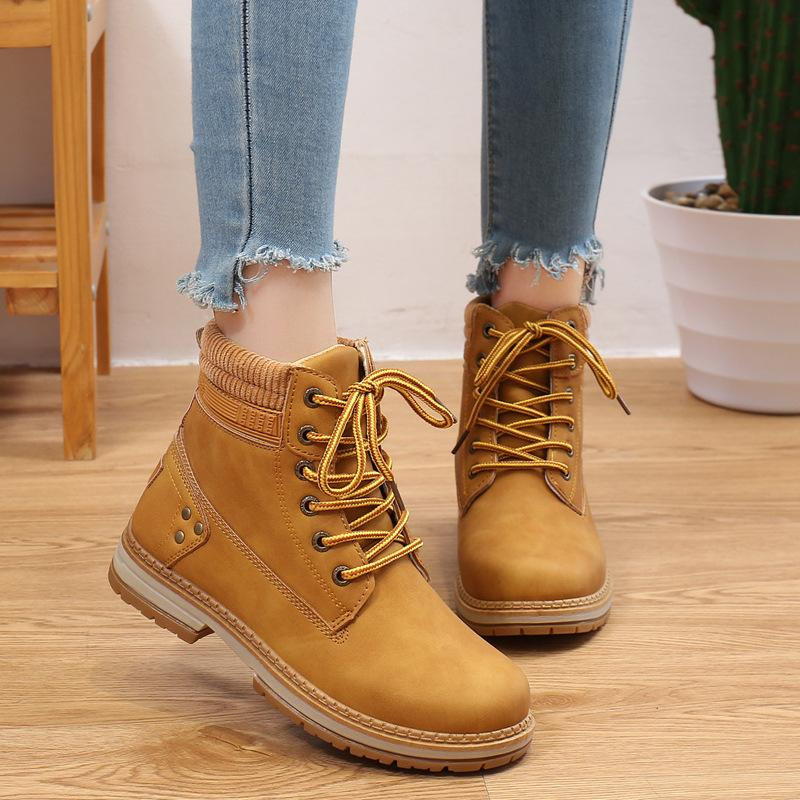 Ladies High Top Lace Up PU Leather Trainer Boots Sports Mid Heel Casual Shes