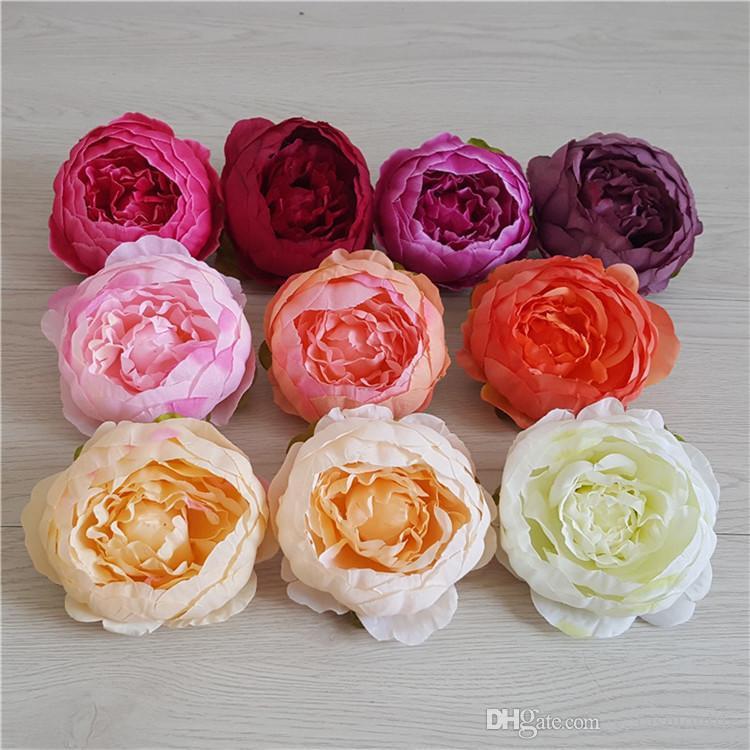 Neueste 10cm künstliche Blumen für Hochzeit Dekorationen Silk Pfingstrose-Blumen-Köpfe-Partei-Dekoration-Blumen-Wand-Hochzeit Kulisse Weiße Pfingstrose