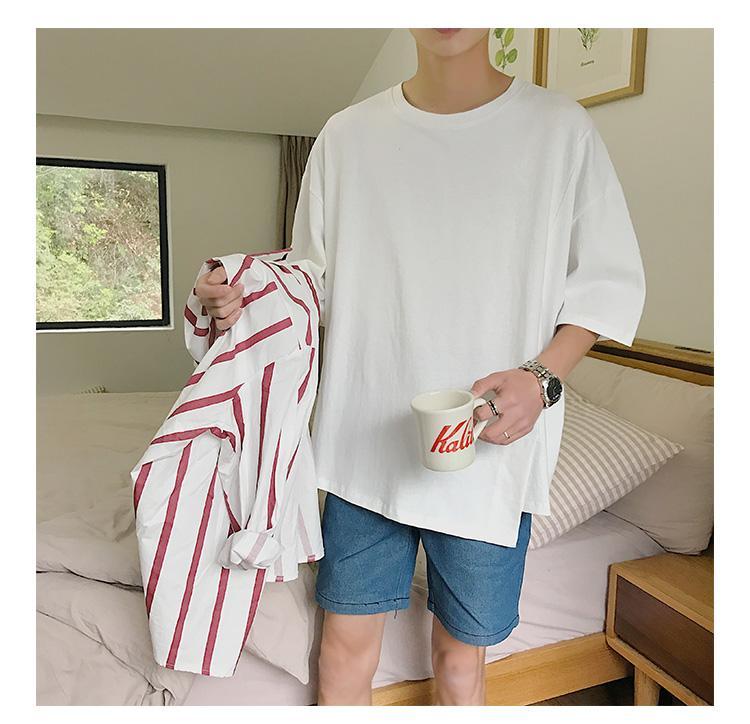 Oversized Camiseta Homens T-shirt Hip Hop Sólidos Redondo Cor do pescoço Moda Casual manga curta Men Oversized shirt 4 cores