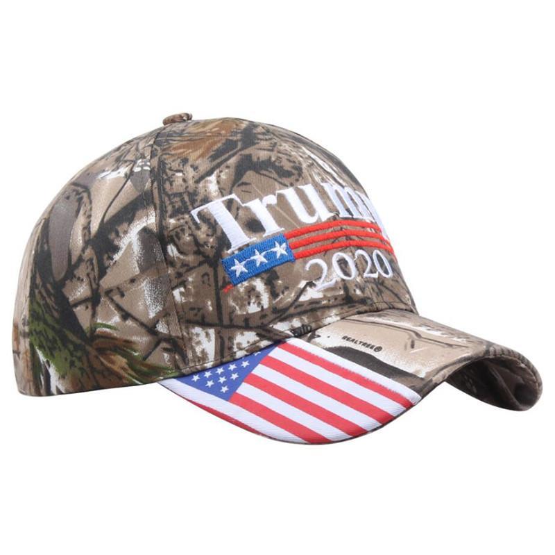 President Donald Trump 2020 Baseball Hat Camo Color MAGA Cap Adjustable Strapback with US Flag Snapback Sports Beach Jogging Golf Caps A5708