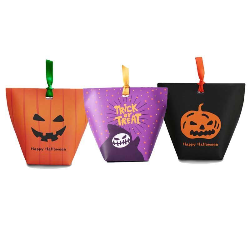 50pcs Cadılar Bayramı yaratıcı komik kabak katlanır kutu şeker bisküvi hediye kutusu 6X6X10cm üç renk seçimi