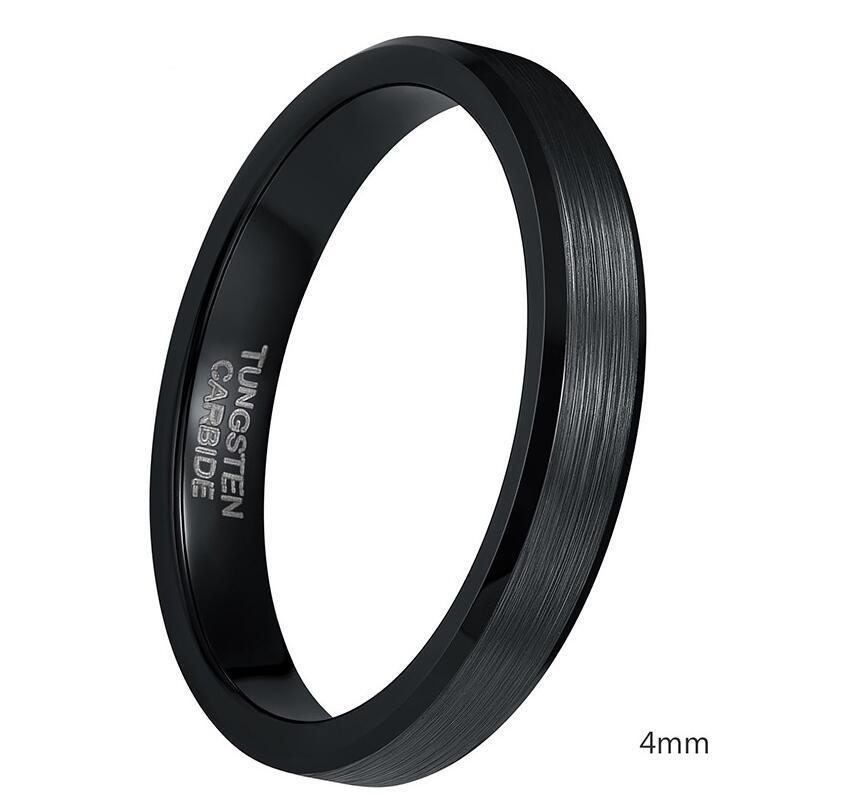 4mm 6mm 8mm Preto Tungsten Cardide Anel Homens De Alumínio Polido Edges Anéis De Noivado Banda De Casamento Para As Mulheres Masculinas Jóias Conforto Fit