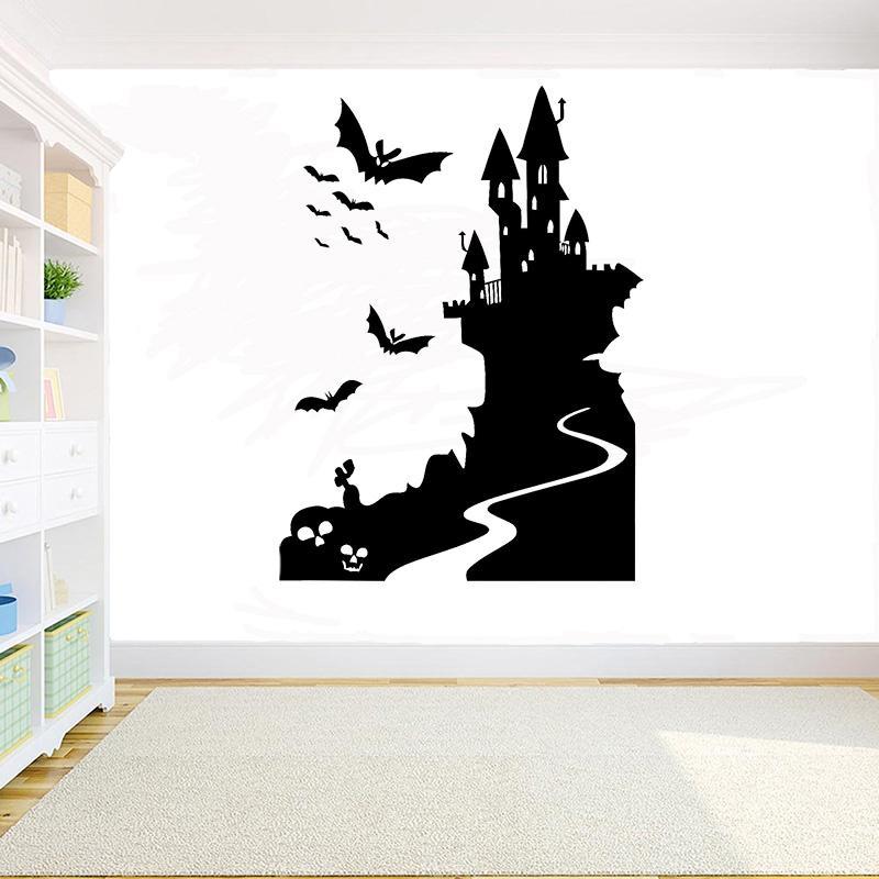Halloween autocollant de mur Sorcière du château Wizard autocollant Bat mur autocollants de porte en verre vinyle bricolage fenêtre accessoires de décoration de la maison