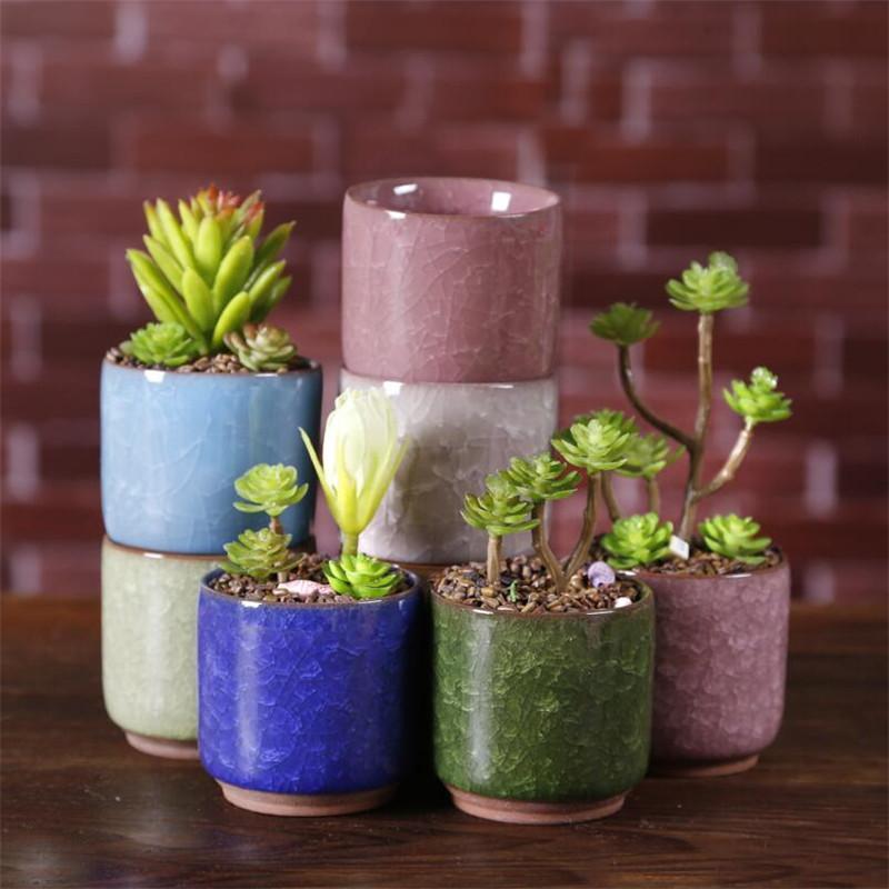 Ice Cracked Mini Ceramic Flower Pot Colorful Cute Flowerpot For Office Desktop Decoration Meaty Potted Plants Planters thumb flower pots