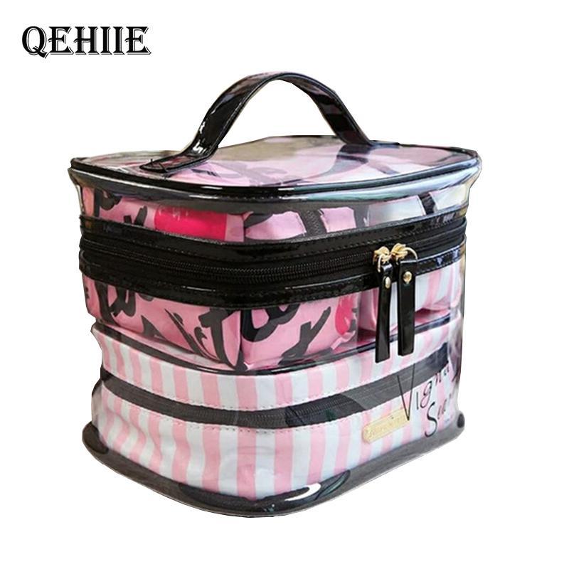 PVC Limpar Cosméticos sacos organizador da viagem de Higiene Pessoal Bag Set Transparent Maquiagem Beauty Case Esteticista Vanity Necessaire CY200518 de viagem