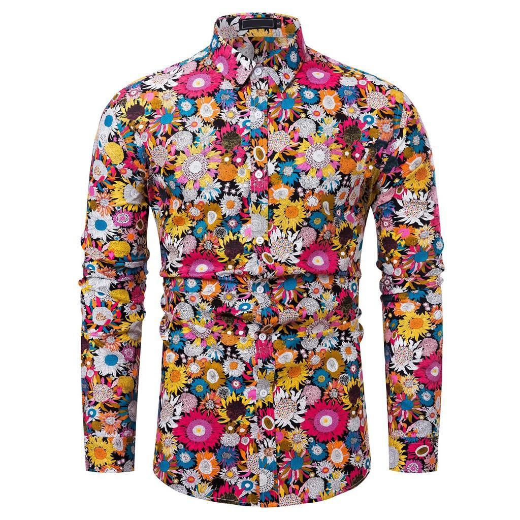 وصول جديد رجل قميص نمط تصميم كم طويل الزهور الزهور طباعة صالح سليم رجل قميص عارضة الازياء قمصان قميص 20
