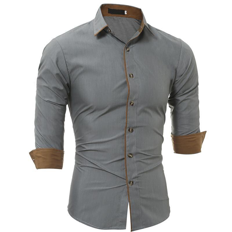 Polyester régulier Hommes Vêtements Slim Fit Hommes Chemise à manches longues classique Homme Personnalité Casual hommes Lapel « S Shirts épidémie jeunes surperformants