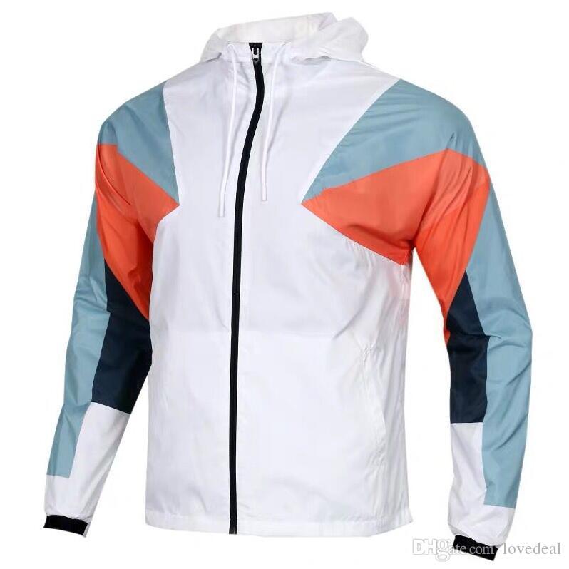 2019 가을 새로운 남성 스포츠 니트 바느질 재킷 실행 피트니스 방풍 야외 후드 재킷 남성 의류 코트 후드