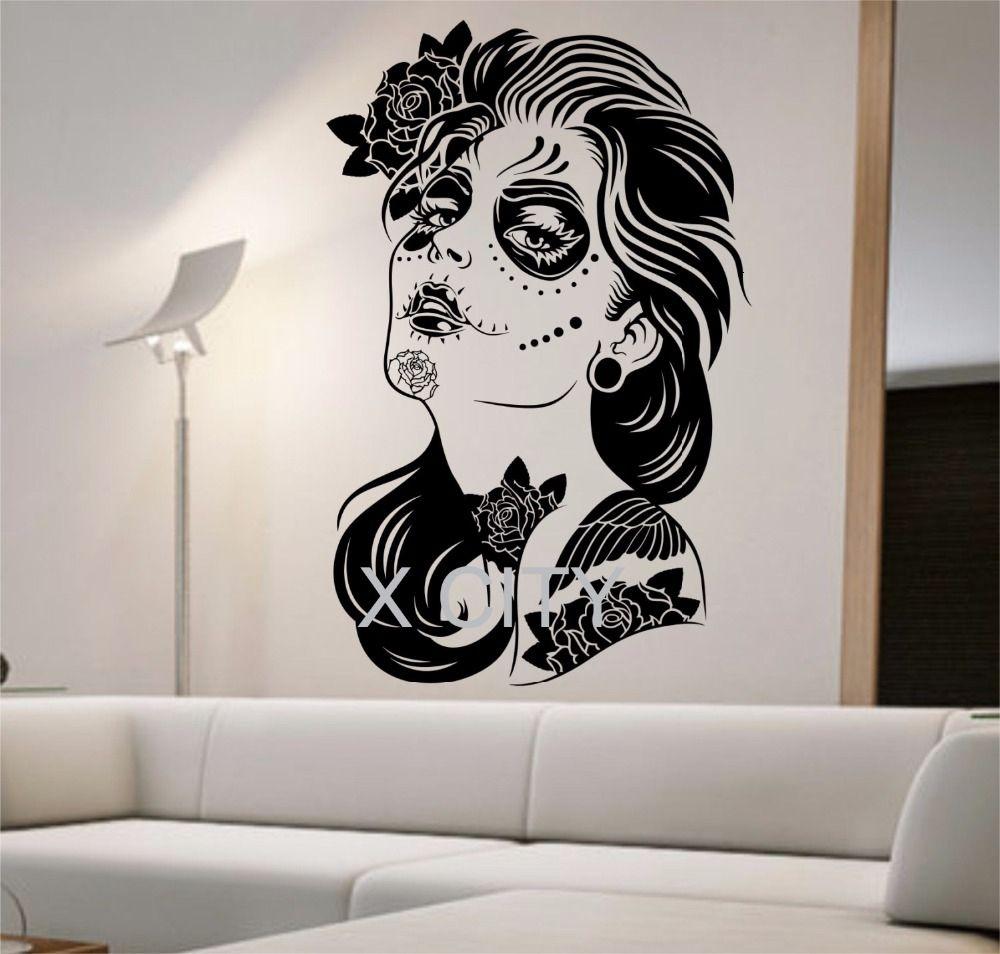 객실 문신 CJ191212 생활 죽은 벽 데칼 ROSES GIRL 비닐 스티커 예술 장식 홈 침실 디자인 벽화 인테리어 설탕 두개골의 날