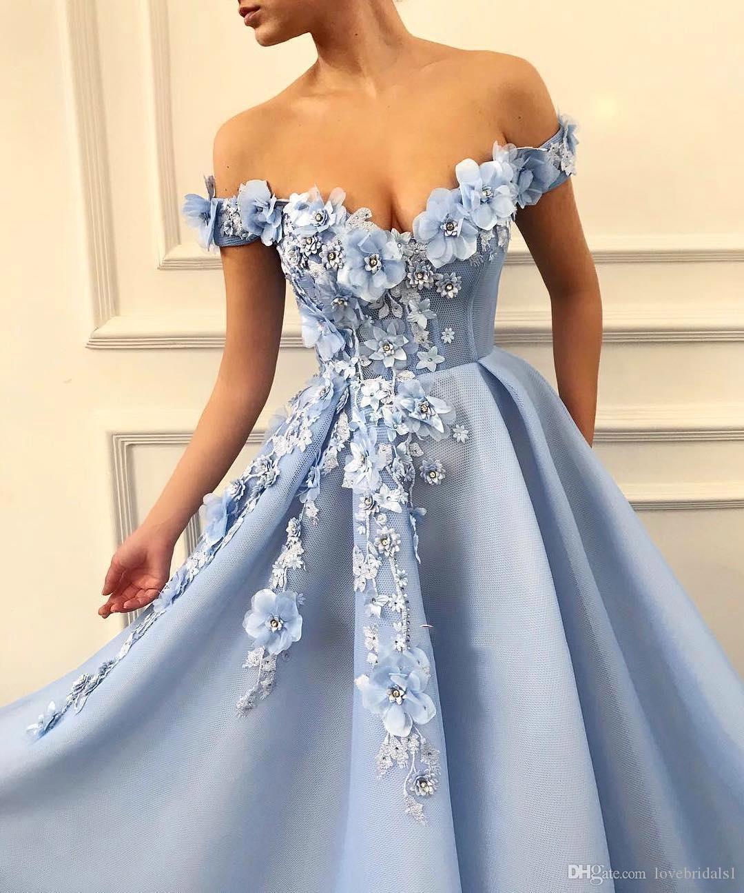 Светло-голубой длинные платья выпускного вечера с ручной цветок элегантный с плеча сладкий 16 девушки театрализованное вечерние платья 2020 дешевые