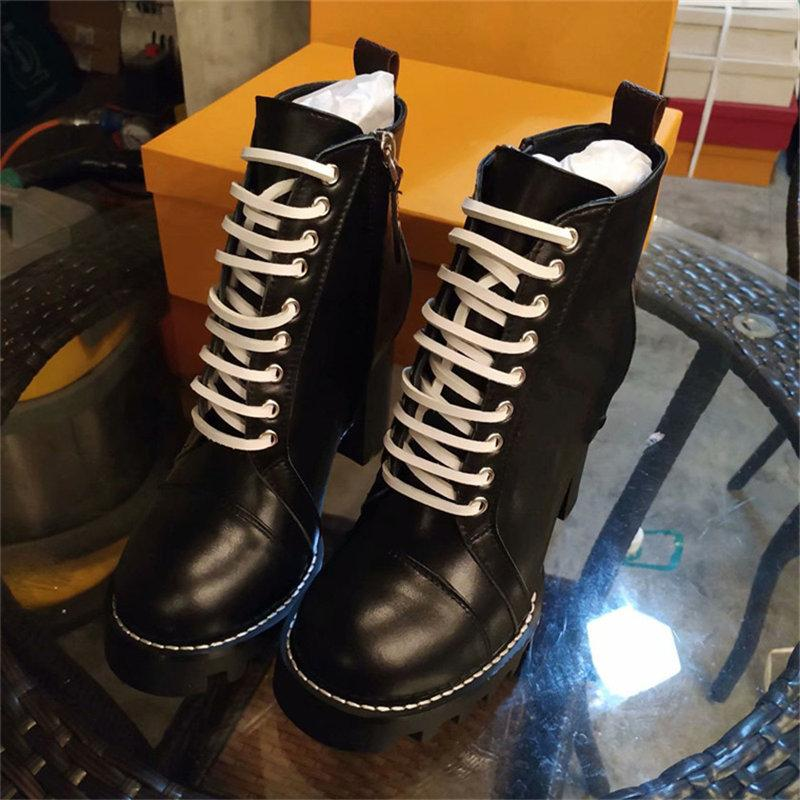 Lace Up Ribbon Ankle Shoe Women Boot Heel Round Head Autumn Leather