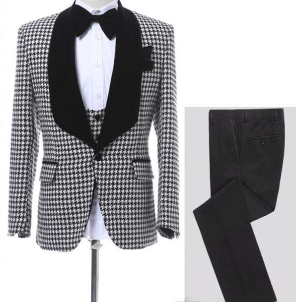 Latest Houndstooth Men Wedding Suits One Button Groom Tuxedos Shawl Lapel Men Prom Dinner Business Suit (Jacket+Pant+Vest)