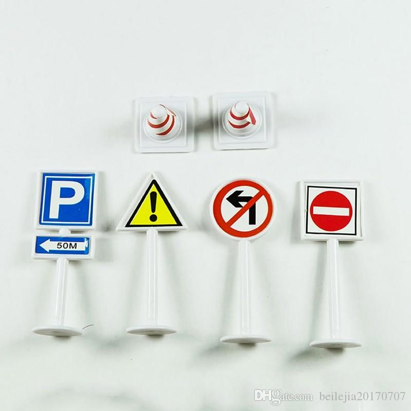 5//10 Pcs DIY Model Scene Toy Traffic Sign Scene Road Block Kid Educational Toys